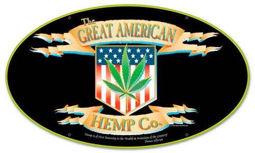 Vintage-Retro American Hemp Oval Metal-Tin Sign