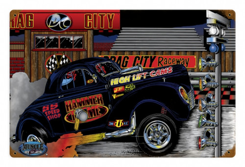 Retro Gasser Willeys Hammer Time Tin Sign