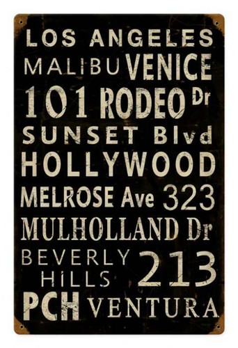 Vintage Metal Sign LA Towns 12 x 18 Inches