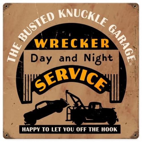 Retro Wrecker Service Metal Sign