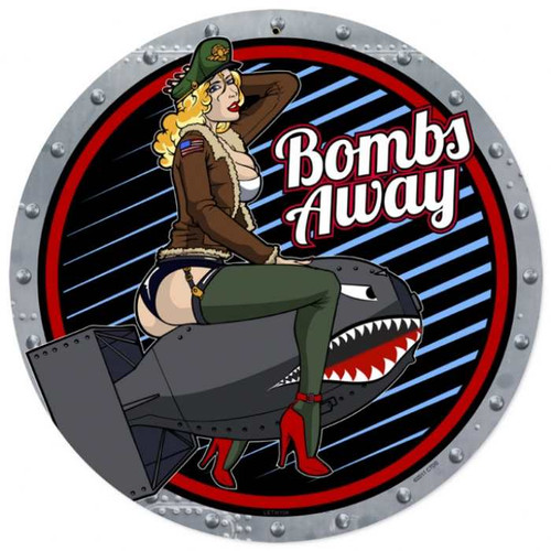 Retro Bombs Away Metal Sign