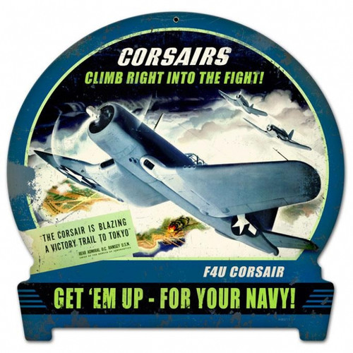 Vintage-Retro Corsairs Climb Round Banner Metal-Tin Sign