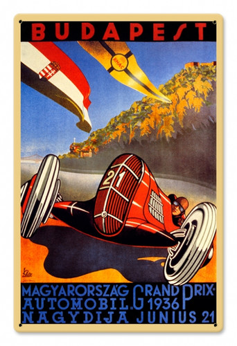Vintage Budapest Grand Prix 12 x 18 inches Tin Sign