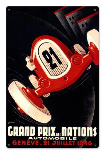 Vintage Nations Grand Prix 12 x 18 inches Tin Sign