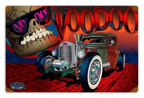 Vintage Rat Rod Voodoo 12 x 18 inches Tin Sign
