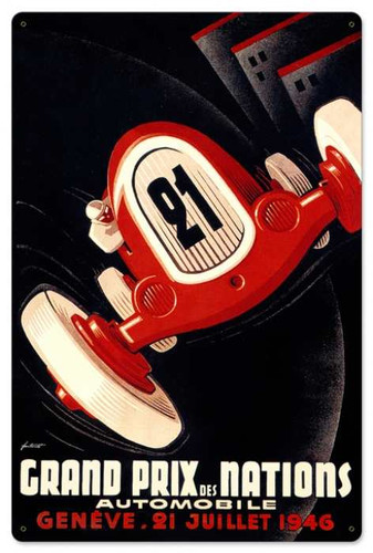 Vintage Nations Grand Prix 24 x 16 inches Tin Sign