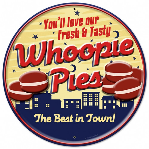 Retro Whoopie Pies Tin Sign 28 x 28  Inches