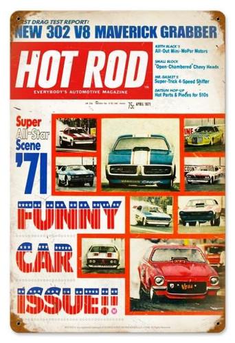 Vintage-Retro Funny Cars (Apr. 1971) Metal-Tin Sign