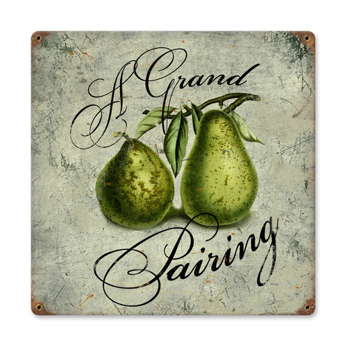 Vintage Pear Pairing Metal Sign 12 x 12 Inches Inches