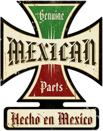 Vintage-Retro Mexican Parts Iron Cross Metal-Tin Sign