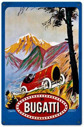 Retro Bugatti Red Metal Sign  12 x 18 Inches