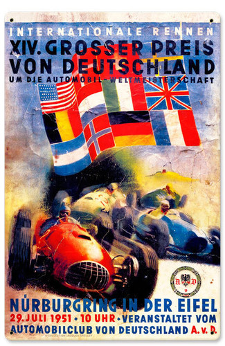 Retro German Grand Prix Metal Sign  12 x 18 Inches