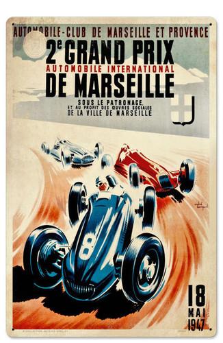 Retro Marseille Grand Prix Tin Sign 16 x 24 Inches
