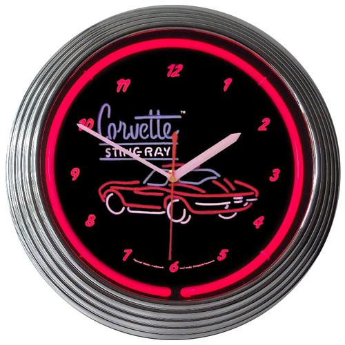 Retro CORVETTE SR NEON CLOCK 15 x 15 Inches