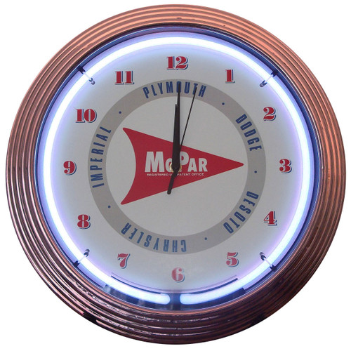 Retro MOPAR ARROW NEON CLOCK 15 x 15 Inches