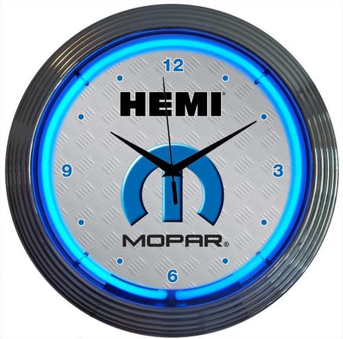 Retro MOPAR HEMI NEON CLOCK 15 x 15 Inches