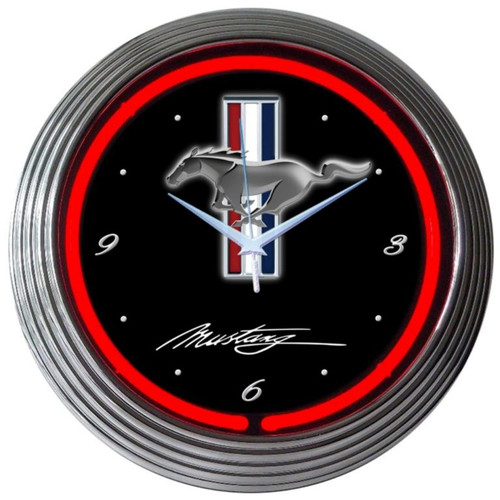 Retro Ford Mustang Neon Clock 15 X 15 Inches