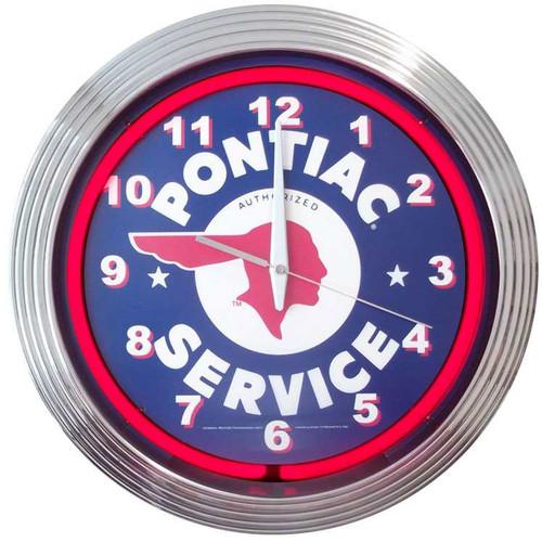 Retro GM PONTIAC SERVICE NEON CLOCK 15 x 15 Inches