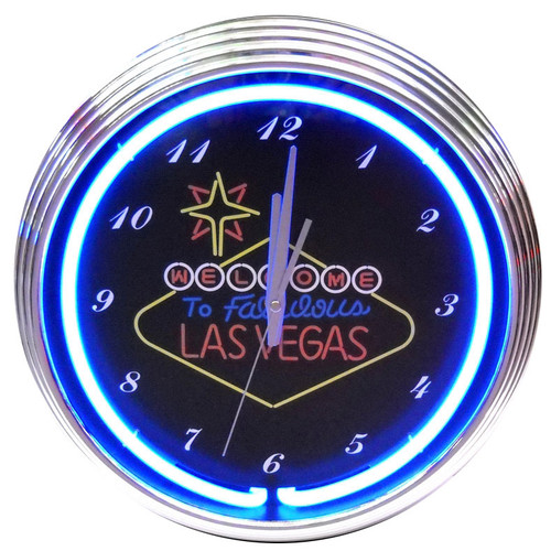 Retro LAS VEGAS SIGN NEON CLOCK 15 x 15 Inches