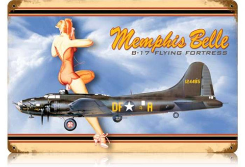 Retro Memphis Belle - Pin-Up Girl Metal Sign - 24 x 16 Inches