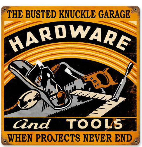 Retro Hardware and Tools Metal Sign 12 x 12 Inches