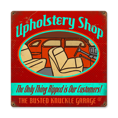 Retro Upholstery Shop Metal Sign 12 x 12 Inches