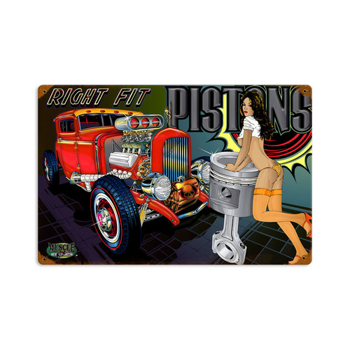 Retro Right Fit Pistons Metal Sign 18 x 12 Inches