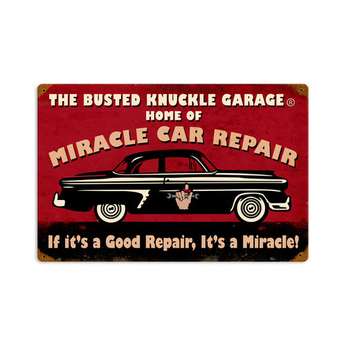 Retro Miracle Car Repair metal Sign  18 x 12 Inches