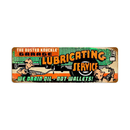 Retro Lubricating Service Tin Sign  24 x 8 Inches