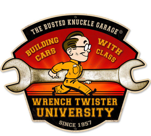 Retro Wrench Twisters Custom Shape Metal Sign  21 x 7 Inches