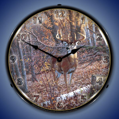 Great Eight Whitetail Deer Lighted Wall Clock