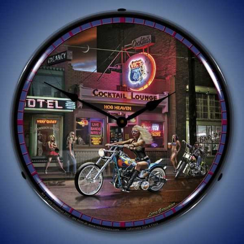 Retro Vics Hwy 40 Lighted Wall Clock