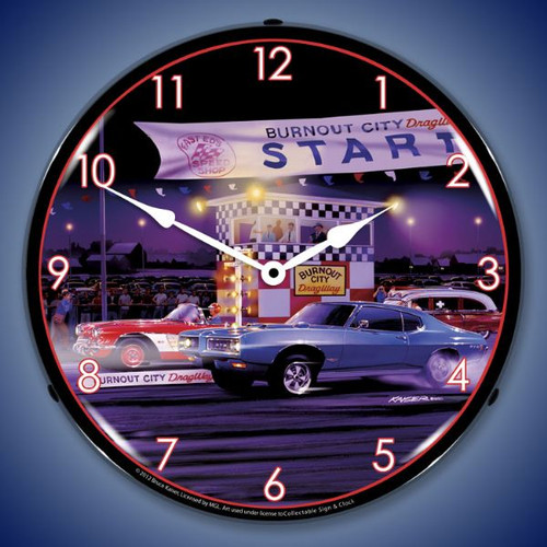 Retro Drag City Lighted Wall Clock