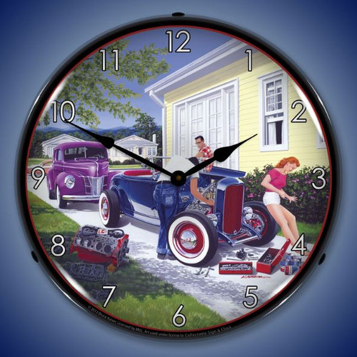 Retro Shade Tree Mechanic Lighted Wall Clock