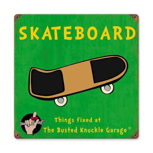 Retro Kids Skateboard Metal Sign  12 x 12 Inches