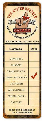 Retro Drain Oil Service Metal Sign  8 x 24 Inches