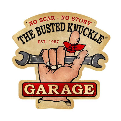 Retro Busted Knuckle Garage Metal Sign  19 x 19 Inches