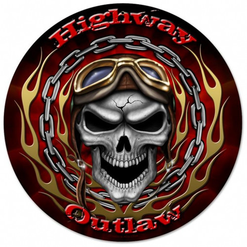 Vintage-Retro Highway Outlaw Round Metal-Tin Sign