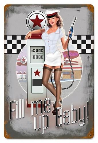 Vintage-Retro 50's Pump Girl - Pin-Up Girl Metal Sign -