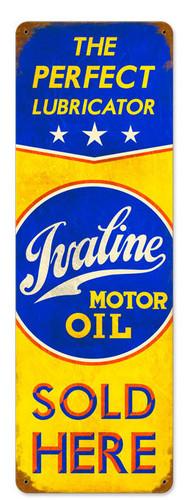 Retro Ivaline Motor Oil Vintage Metal Sign 8 x 24 Inches