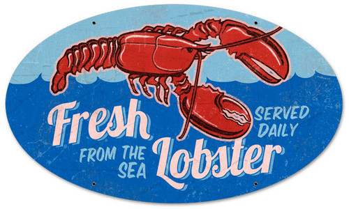 Retro Fresh Lobster Oval Metal Sign 24 x 14 Inches