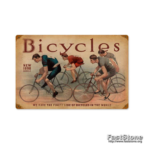 Retro Bicycles Metal Sign 18 x 12 Inches