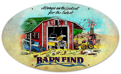 Retro Barn Finds Oval Metal Sign 24 x 14 Inches