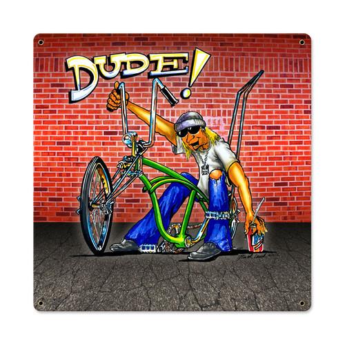 Retro Dude Bike Metal Sign 18 x 18 Inches