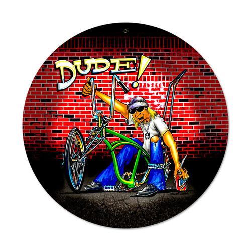 Retro Dude Bike Round Metal Sign 14 x 14 Inches