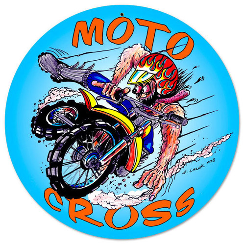 Retro MotoCross Metal Sign 14 x 14 Inches