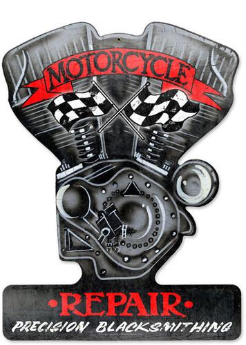Retro Motorcycle Repair Custom Metal Shape 14 x 18 Inches