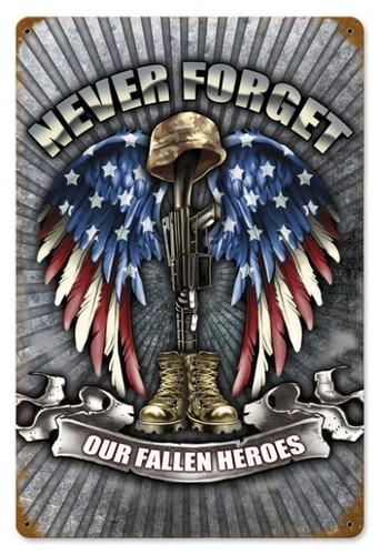 Vintage-Retro Fallen Heroes Metal-Tin Sign