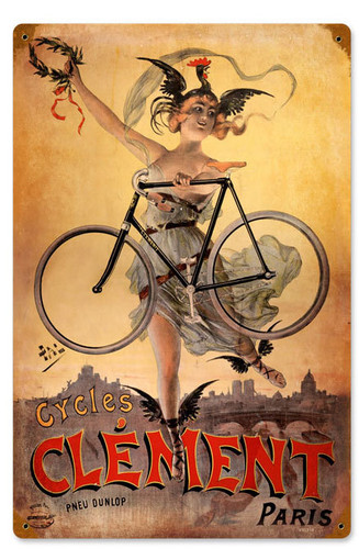 Retro Clement Bicycles  Metal Sign 12 x 18 Inches