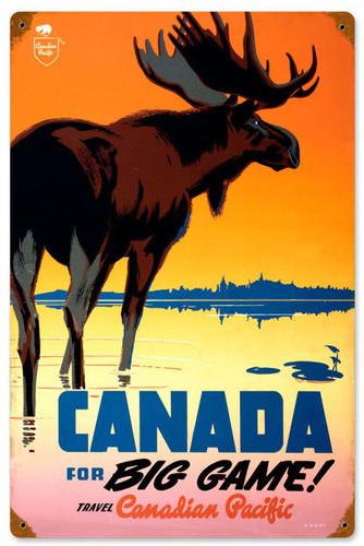 Retro Canada Big Game  Metal Sign 12 x 18 Inches